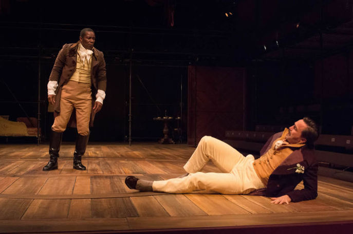 John Douglas Thompson as Ira Aldridge and Joe Tapper as Pierre Laporte. Photo by Enrico Spada.