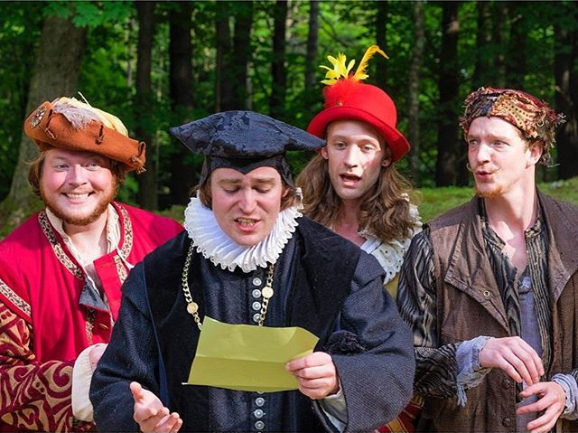 Have you seen Twelfth Night yet? This outdoor production is running until August 20th at The Mount! @themountlenox #Shakespeare #IntheBerkshires #TwelfthNight #Acting #Theater #OutdoorTheater #TheMount #EdithWharton #Summer Pictured: Conor Seamus Moroney, Colin Gold, Marcus Kearns and Gregory Boover Photo by Ava G. Lindenmaier