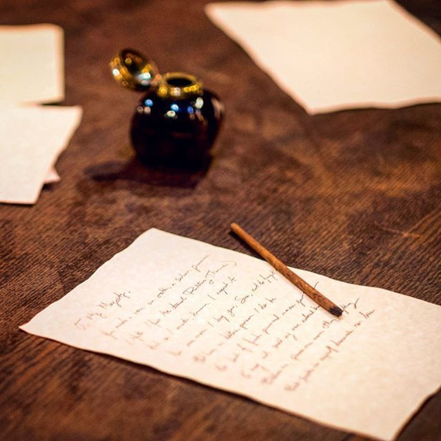 Set details from the play 'Or,' about playwright/poet/spy Aphra Behn. In previews this weekend! #Shakespeare #IntheBerkshires #Or #Theater #SetDesign #Letters #Ink #Writing Photo by Ava G. Lindenmaier