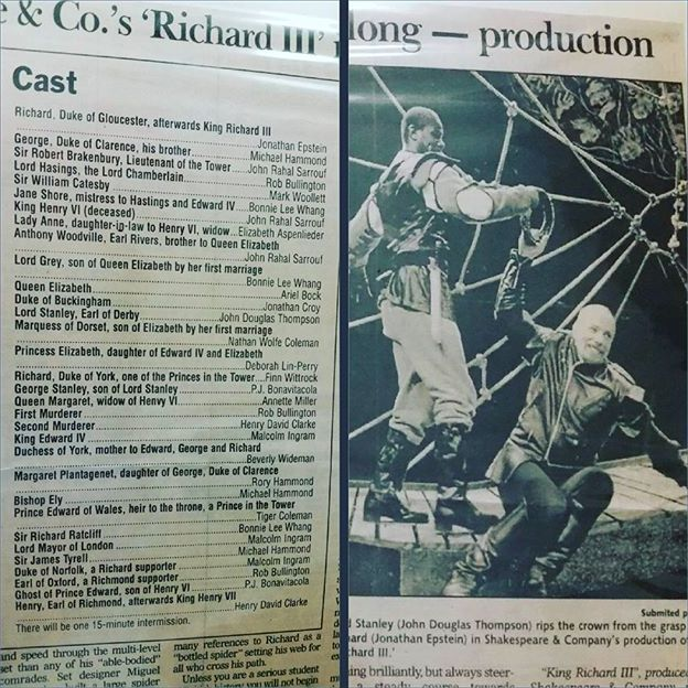 #throwbackthursday to our July 1999 production of 'Richard III' - if you look at the cast, it featured Finn Wittrock as Richard, Duke of York, one of his earliest Main Stage roles!  #shakespeare #intheberkshires #acting #theatre #richard iii #finnwittrock