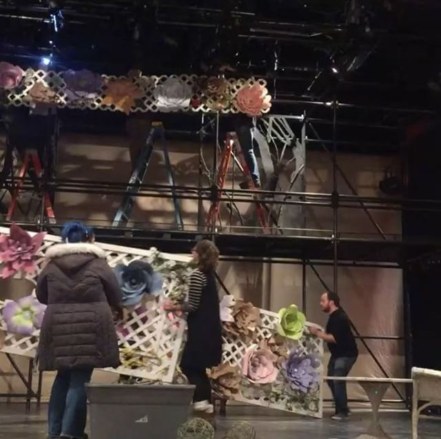 Putting up the set for Mt Greylock High School's Much Ado About Nothing.