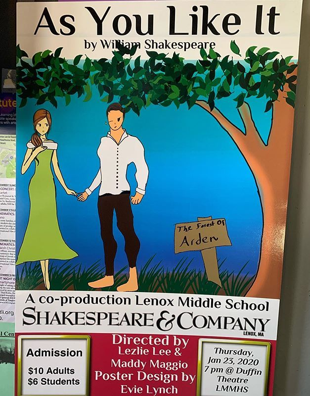 We are excited!! Lenox Middle school presents As You Like It January 23rd at 7pm in the Duffin Theater at Lenox Middle and High School. Don't miss this hilarious romantic comedy. 🥰 #lenox #shakespeare